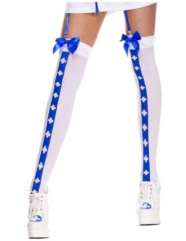 Lingerie - Bas - Bas sexy blanc avec bande bleu croix nfirmière et noeuds satinés - MH4780WBL - Music Legs