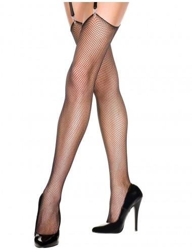 Lingerie - Bas - Bas fine résille noirs pour porte-jarretelles - MH4917BLK - Music Legs