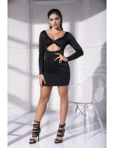 Lingerie - Robes et jupes sexy - Robe noire moulante et ajourée sous la poitrine Style 4533 - MAP-05309 - Mapalé