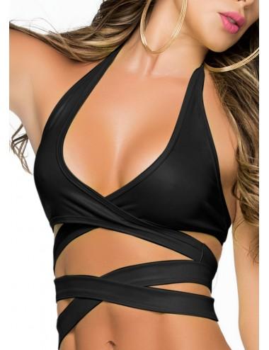 Lingerie - Hauts et Tops - Top sexy noire avec lanières et décolleté plongeant Style 9024 - Mapalé