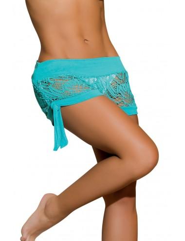 Lingerie - Maillots de bain et tenues de plage - Short brodé mesh bleu turquoise avec noeuds Style 7713 - Mapalé