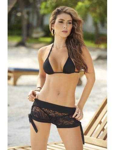 Lingerie - Maillots de bain et tenues de plage - Short brodé mesh noire avec noeuds Style 7713 - MAP-02991 - Mapalé