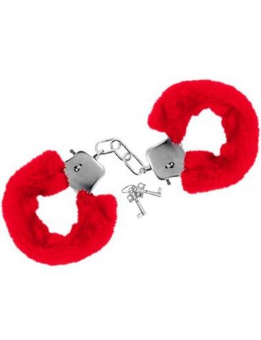 Sextoys - Menottes & accessoires - Menottes fourrure rouges de poignets avec sécurité - CC5140030030 - Sweet Caress