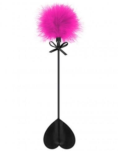 Sextoys - Fouets & Cravaches - Cravache noire coeur bdsm avec plumeau rose - CC5700760201 - Sweet Caress