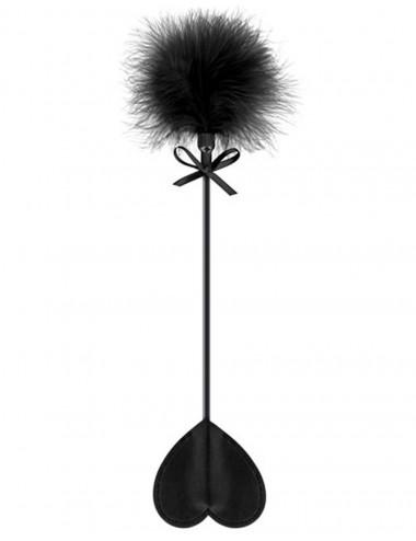 Sextoys - Fouets & Cravaches - Cravache noire coeur bdsm avec plumeau noir - CC5700760010 - Sweet Caress
