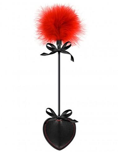 Sextoys - Fouets & Cravaches - Cravache coeur noire bdsm avec plumeau rouge - CC570073 - Sweet Caress