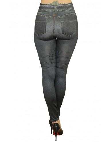 Lingerie - Leggings Sexy - Legging moulant noir style jean usé délavé avec poches arrière - Fashion Diffusion