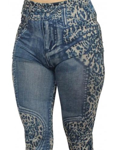 Lingerie - Grande Tailles - Legging bleu effet jean délavé imprimé léopard - FD1017 - Fashion Diffusion