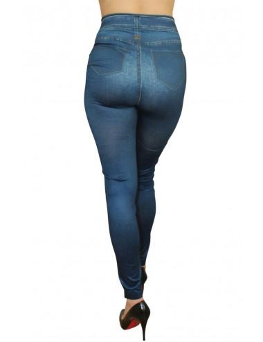 Lingerie - Leggings Sexy - Legging bleu moulant et extensible avec style jean neuf - Fashion Diffusion