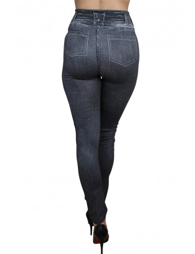 Lingerie - Leggings Sexy - Legging noir moulant et extensible avec style jean usé - Fashion Diffusion