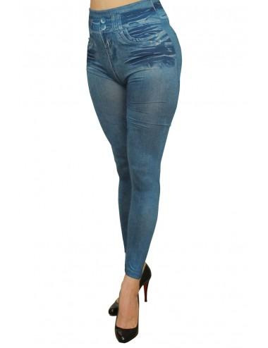 Lingerie - Leggings Sexy - Legging bleu effet jean usé - FD1014 - Fashion Diffusion