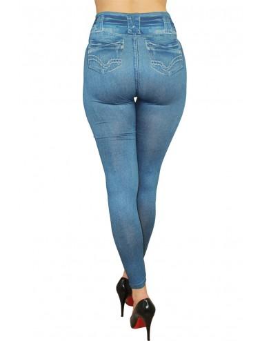 Lingerie - Leggings Sexy - Legging bleu moulant et extensible avec effet style jean usé - Fashion Diffusion