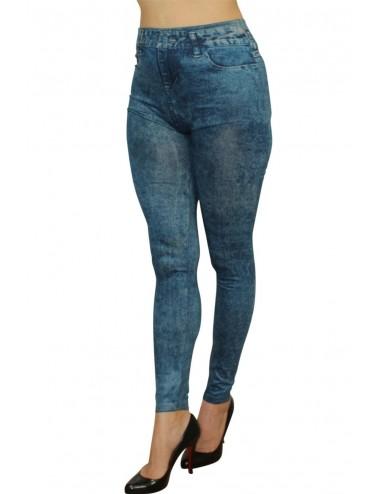Lingerie - Grande Tailles - Legging bleu effet jean moulant délavé - FD1016 - Fashion Diffusion