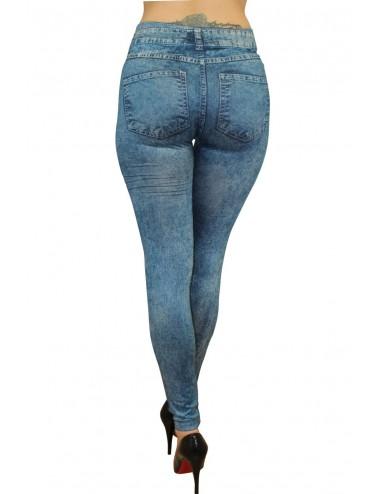 Lingerie - Grande Tailles - Legging bleu effet jean délavé - FD1016 - Fashion Diffusion