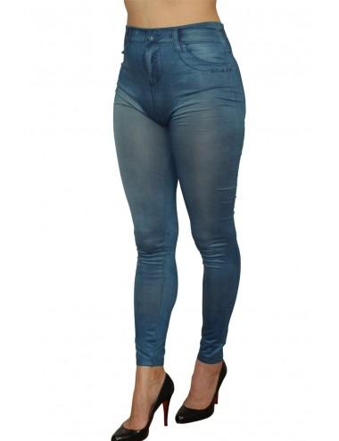 Lingerie - Grande Tailles - Legging bleu style jean moulant avec impressions sur poches - FD1018 - Fashion Diffusion