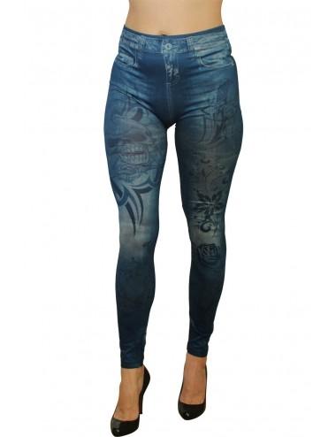 Lingerie - Leggings Sexy - Legging bleu effet jean imprimé style tatouage - FD1019 - Fashion Diffusion