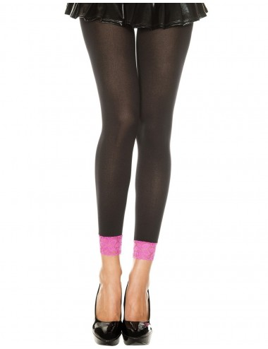 Lingerie - Leggings Sexy - Legging fin opaque noir dentelle rose - MH7478BKP - Music Legs