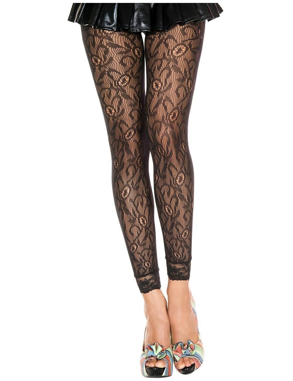 Lingerie - Leggings Sexy - Legging fin noir résille et dentelle motif floral - MH35029BLK - Music Legs