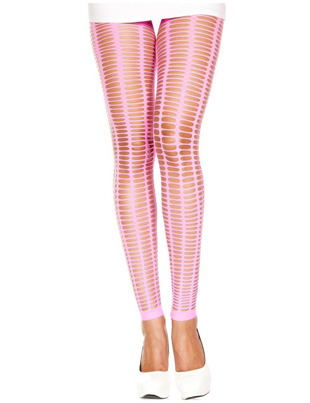 Lingerie - Leggings Sexy - Leggings rose fluo moulant ajouré petits trous - MH35442NEP - Music Legs