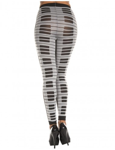 Lingerie - Grande Tailles - Leggings gris fashion imprimé touches de piano - MH35817GYB - Music Legs