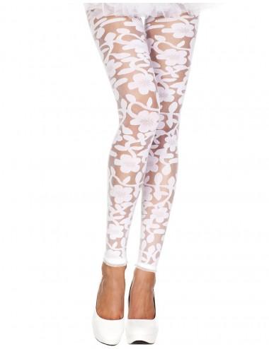 Lingerie - Leggings Sexy - Legging blanc fin transparent motif fleuri - MH35344WHT - Music Legs