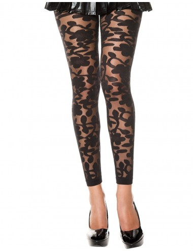 Lingerie - Leggings Sexy - Legging noir fin transparent motif fleuri - MH35344BLK - Music Legs