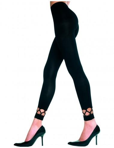 Lingerie - Leggings Sexy - Leggings moulant noir doux et opaque ajouré sur les chevilles - MH35238BLK - Music Legs