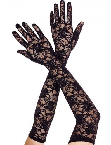 Lingerie - Gants et Mitaines - Gants longs en dentelle florale noire - ML464BLK - Music Legs