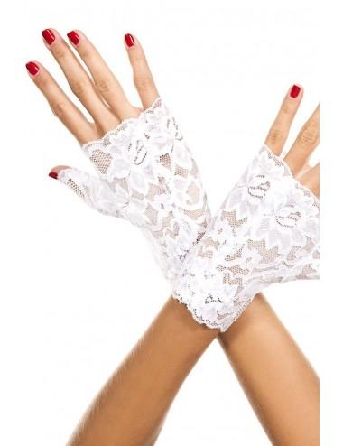 Lingerie - Gants et Mitaines - Gants blancs doigts ouverts dentelle florale - ML416WHT - Music Legs