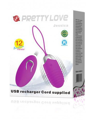 Sextoys - Oeufs Vibrants - Oeuf vibrant strié 12 vitesses USB - CC530331 - Pretty Love