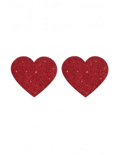 Lingerie - Nipples et accessoires - Nipples adhésifs brillants en coeur rouge - FS773174 - FunSex