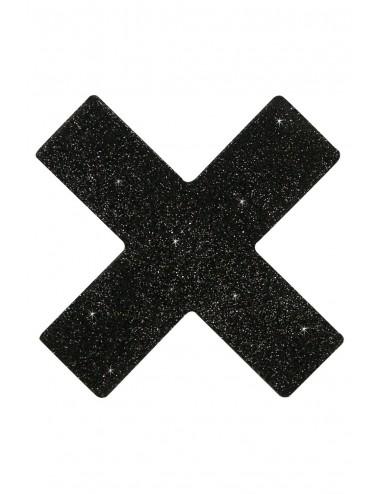Lingerie - Nipples et accessoires - Nipples adhésifs brillants en forme croix noire - FS773158 - FunSex