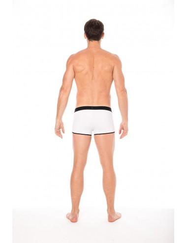 Mini-Pants blanc échancré avec zip - LM2003-68WHT