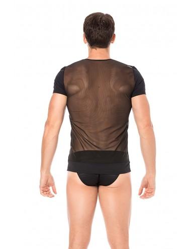 T-shirt noir rayé opaque et transparent - LM2906-81BLK