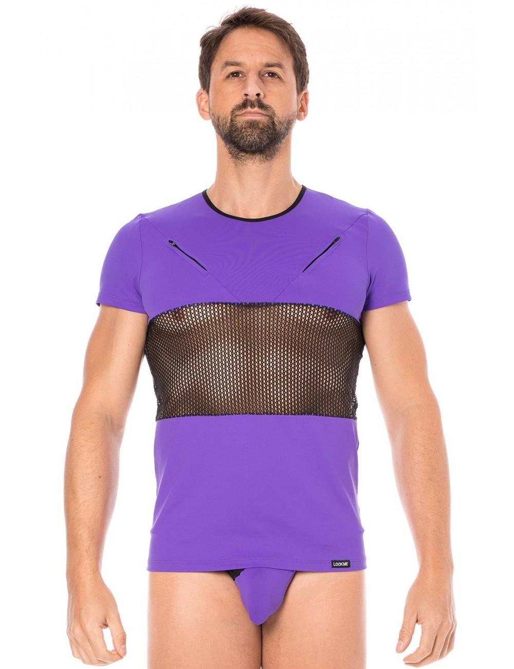 T-shirt violet filet - LM2004-81PUR