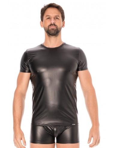 T-shirt simili cuir noir - LM2008-81BLK