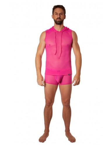 T-shirt rose à capuche sans manche - LM92-77MAG