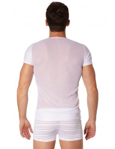 T-shirt blanc rayé opaque et transparent - LM906-81WHT