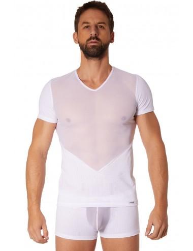 T-shirt blanc finement ajouré et transparence - LM905-81WHT