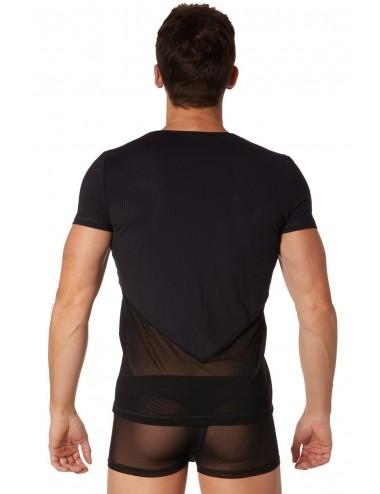 T-shirt noir finement ajouré et transparence - LM905-81BLK