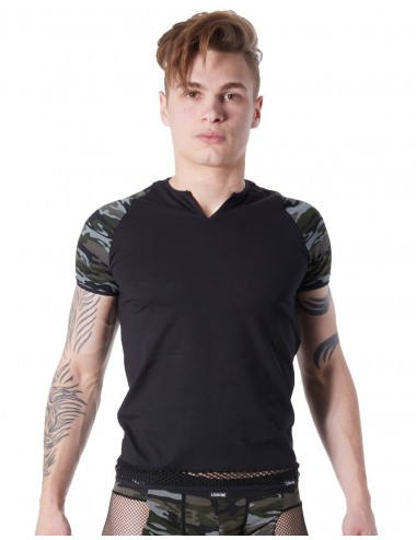 T-shirt noir sexy armée déco camouflage sur les manches et col rond ouvert - LM814-81BLK
