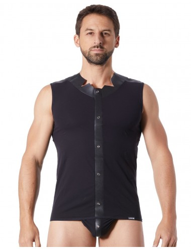 V-shirt débardeur noir satiné avec bandes style cuir et dos avec transparence - LM807-77BLK