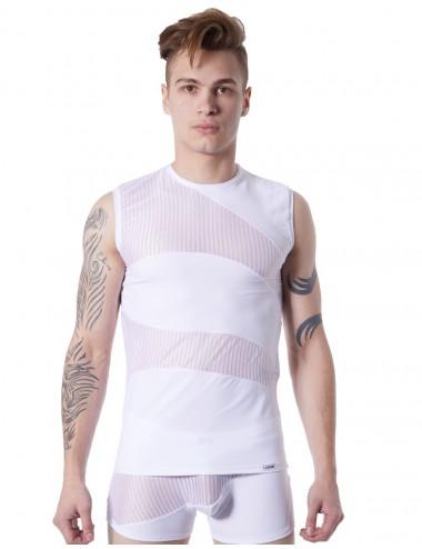 T-shirt débardeur blanc col rond opaque et transparent avec fines rayures - LM803-77WHT