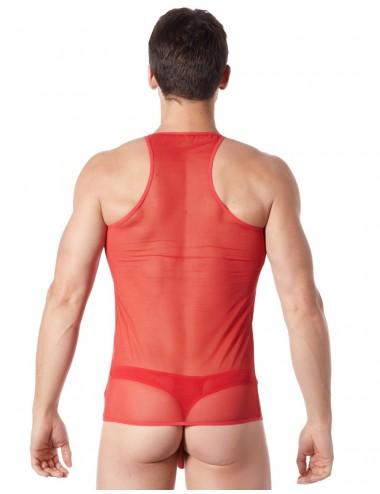 V-shirt rouge fine maille avec transparence - LM92-76RED