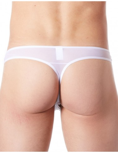 String blanc sexy maille transparente et bande style cuir - LM807-57WHT