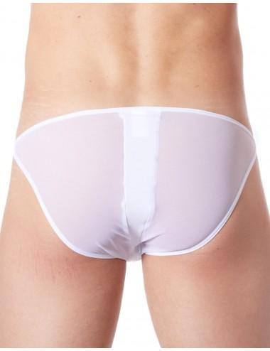 Slip brief blanc sexy avec fermeture éclair et côtés style cuir dos transparent - LM813-61WHT