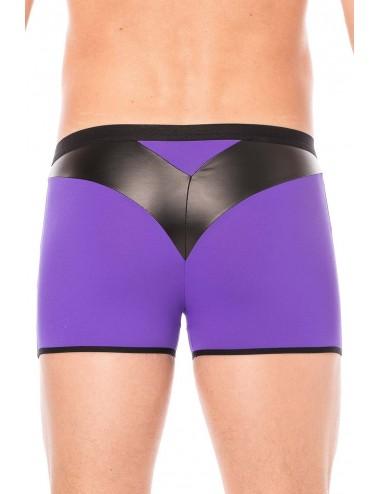 Boxer violet simili cuir brillant - LM2001-67PUR