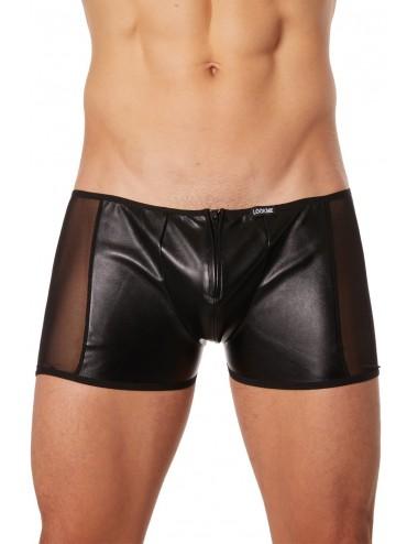 Boxer noir fétichiste simili cuir - LM908-67BLK