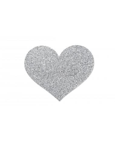 Lingerie - Nipples et accessoires - Cache tétons Coeur argent en forme de croix avec paillettes Flash - Bijoux Indiscrets