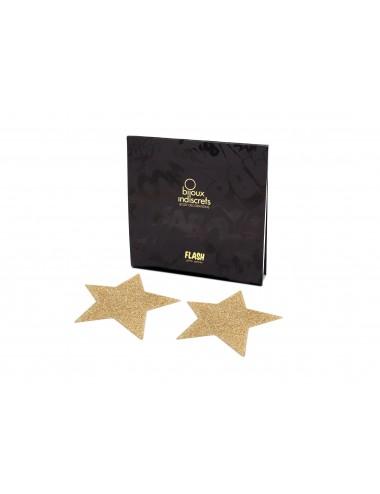 Lingerie - Nipples et accessoires - Cache tétons Etoile Dorée en forme de croix avec paillettes Flash - Bijoux Indiscrets